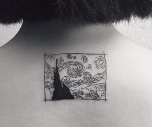 black and whie, tattoo, and vangogh image