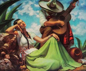 couple, mexico, and guitar image