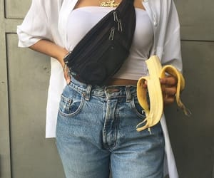 banana, fanny pack, and blue image