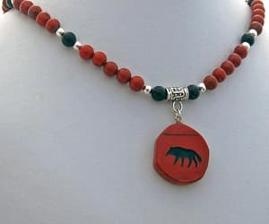 beaded necklace, red black, and etsy image