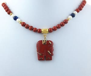 red white blue, statement necklace, and jasper pendant image