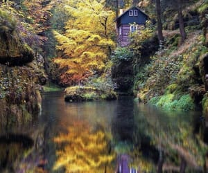 autumn, river, and cabin image