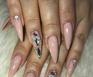 gems, acrylic nails, and mauve image