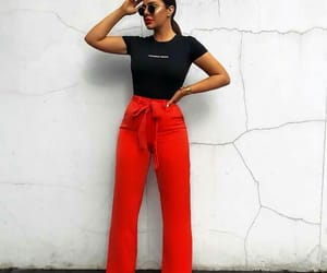 fashion, red pants, and black blouse image