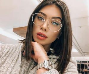 girl, glasses, and brunette image