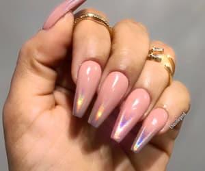 acrylic, long nails, and pink image