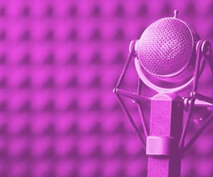 microphone, pink, and music image