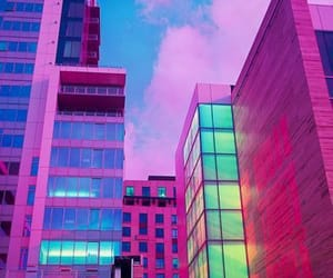 pink, neon, and city image