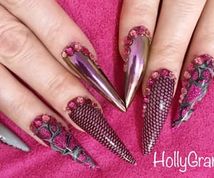 pink nails, stiletto nails, and pink gel nails image