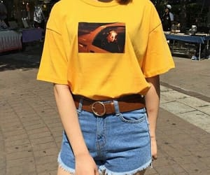 yellow, korean, and outfit image