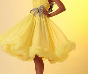 party dress, yellow dress, and homecoming dress image