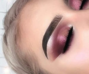 makeup, eyebrows, and pink image