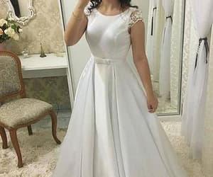 simple wedding dress, satin wedding dress, and wedding dress image