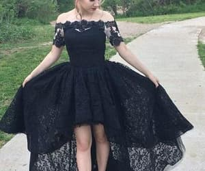 black dress, lace dress, and high low prom dress image