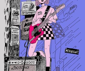 girl, drawing, and guitar image