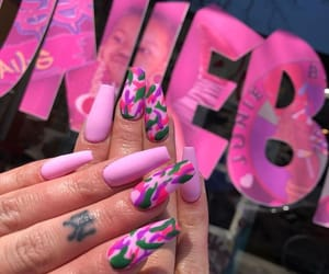 nails, pink, and camouflage image