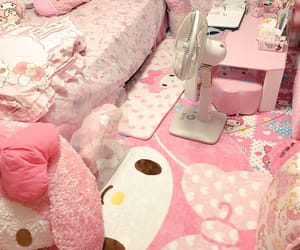 bedroom, hello kitty, and room image