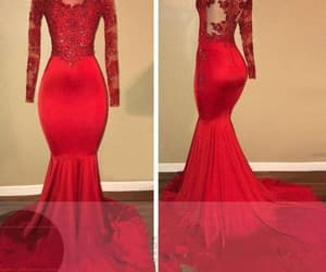 prom dress, red prom dress, and long sleeves prom dress image