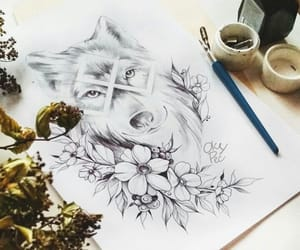 flowers, wolf, and art image