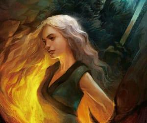 fire, girl, and daenerys image