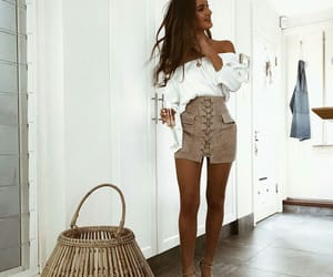 fashion, high heels, and mini skirt image