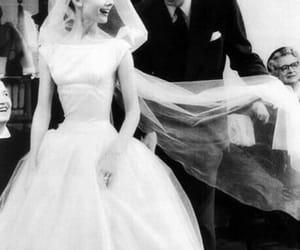 audrey hepburn, white wedding dress, and vintage image