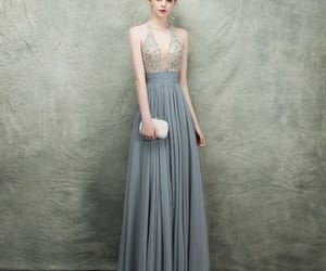 beading, grey dress, and formal dress image