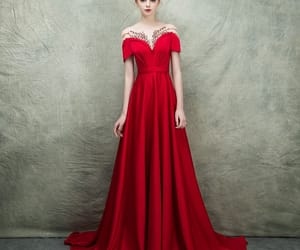 beading, red dress, and see through image
