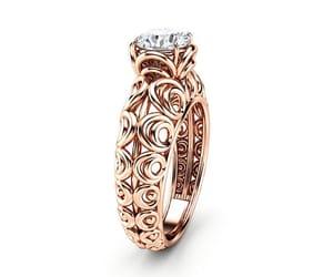 diamond ring, etsy, and rose gold diamond image
