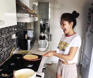 girl, cooking, and breakfast image
