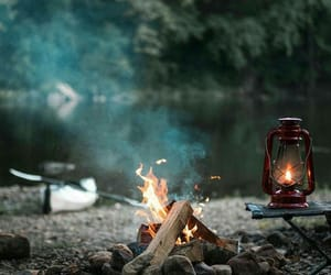 camping, fire, and love image