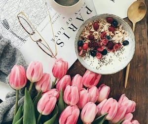 flowers, tulips, and breakfast image