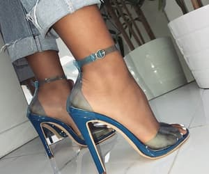 blue heels and white nails image