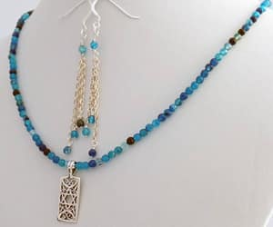 beaded necklace, one of a kind, and dangle earrings image