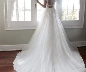 a-line, tulle, and wedding image