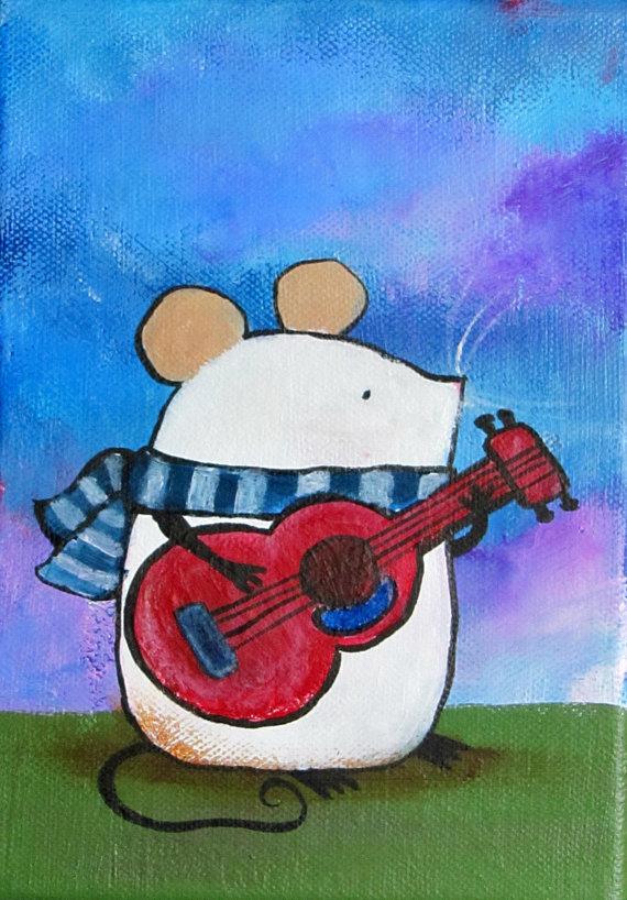 Guitar Mouse Nursery Art Small Acrylic