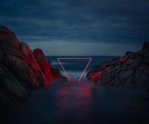 red, triangle, and light image
