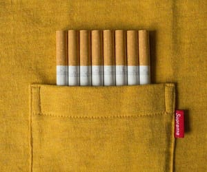 cigarette, yellow, and blue image