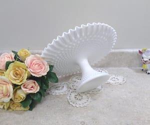 etsy, vintage fenton, and white wedding image