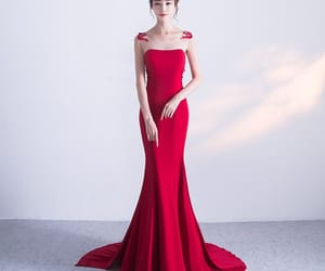 bow, evening dresses, and burgundy image