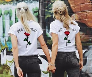 best friends, girl, and tops image