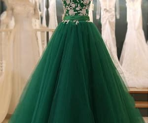 dark green dress, prom dress, and formal occasion dress image