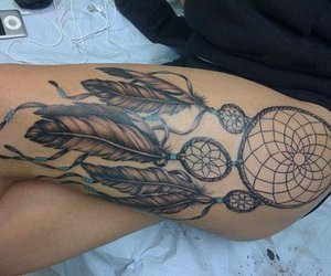 dream catcher, feathers, and tattoo image