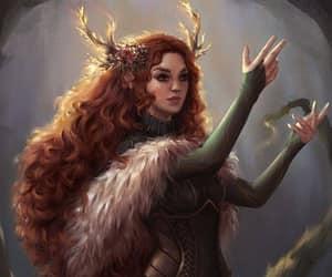 redhead druid and green dress druid image
