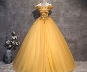 gold dress, long dress, and prom dress image
