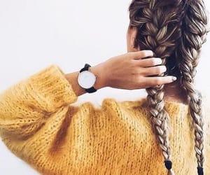 hair, braid, and yellow image