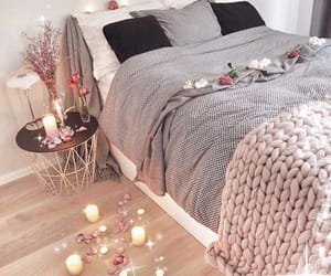 bed, bedroom, and candles image