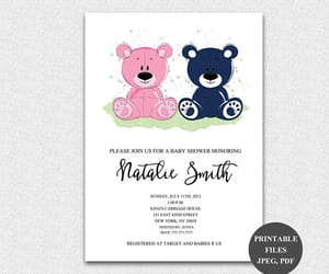 teddy bear, personalised, and baby shower invites image