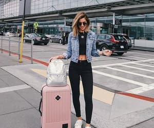 fashion, airport, and girl image
