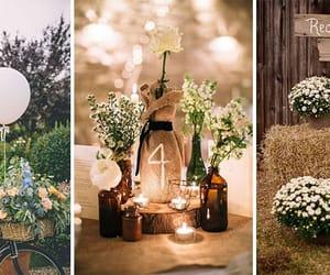couple, wedding decor, and rustic wedding image